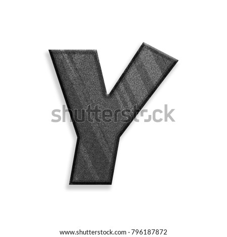 Dark modern black & gray stripes uppercase or capital letter Y in a 3D illustration with a rough texture gray surface and basic bold font style isolated on a white background with clipping path.
