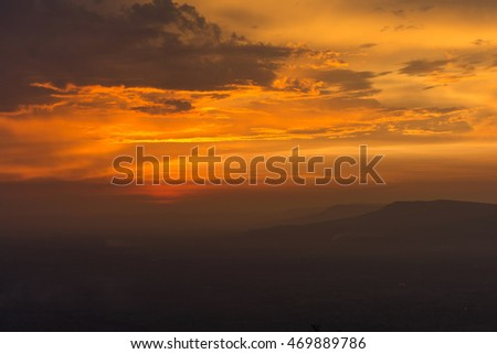dark mountain at sunset time in Thailand