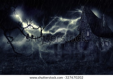 Dark mysterious halloween landscape with an old house. - stock photo
