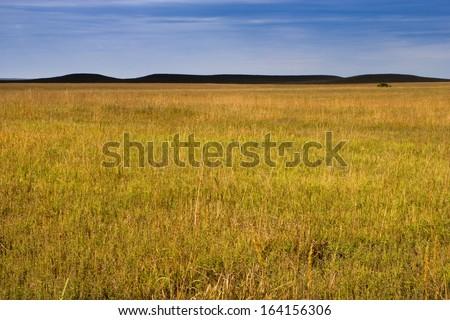 Dark Mysterious Hills in the Kansas Tallgrass Prairie Preserve create a moody pastoral scenic of the prairie grasslands. - stock photo