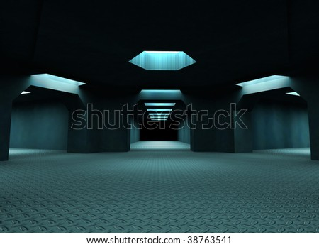 Dark mysterious tunnels. 3d illustration. For other similar images from the series, please, check my portfolio. - stock photo