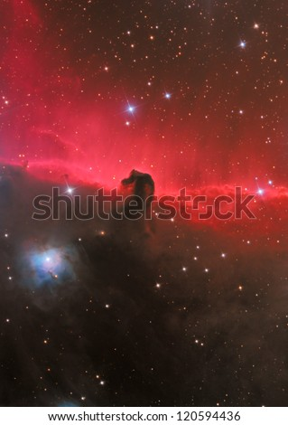 dark nebula in constellation Orion - stock photo