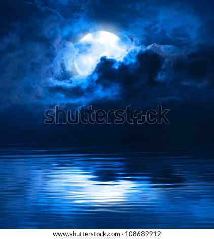 Dark Night Full Moon - stock photo
