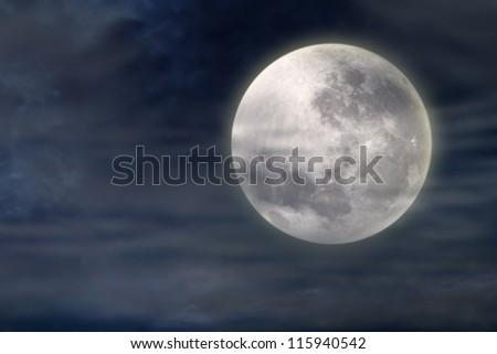 Dark night with full moon in the night of halloween - stock photo