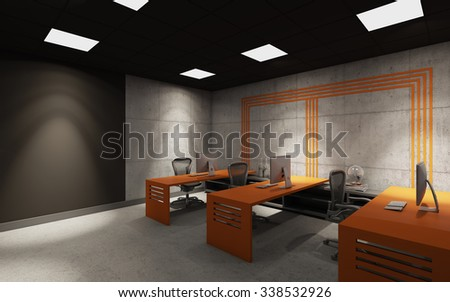 dark office with orange decor 3d Rendering