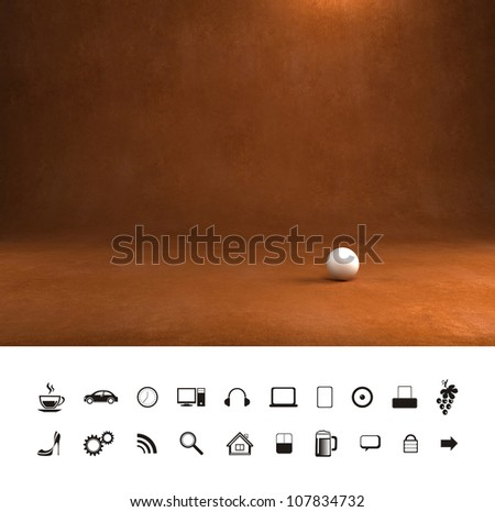 Dark old brown leather texture 3d background. Professional photo studio place. - stock photo