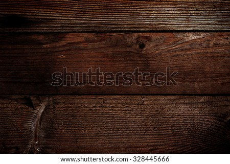 Dark old rustic wood background. Copy Space for your ad or message. Wooden Table
