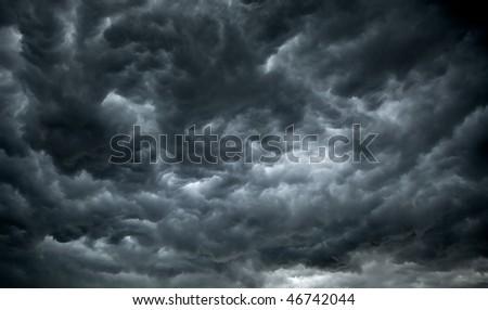 Dark, Ominous Rain Clouds - stock photo