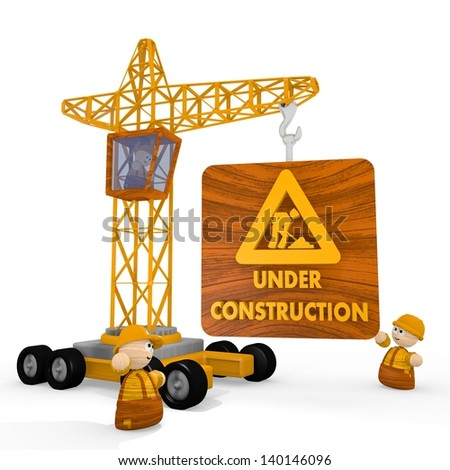 Dark orange  childish construct 3d graphic with tiny under construction symbol with a crane - stock photo