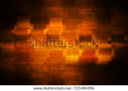 Dark orange tech background. - stock photo