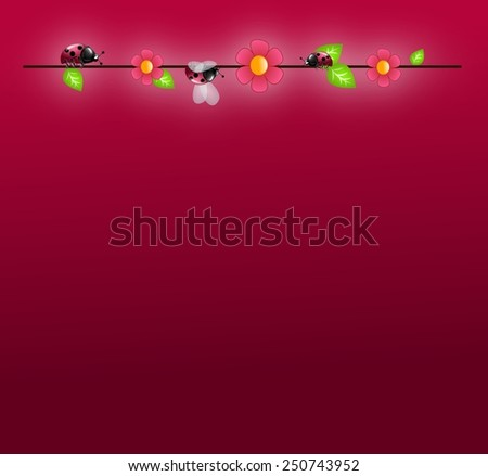 Dark pink background with ladybugs climbs on wire
