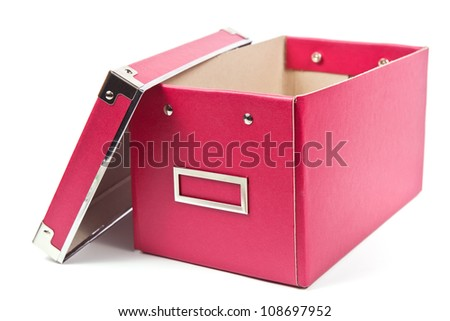 Dark pink paper box with open cover on white background - stock photo
