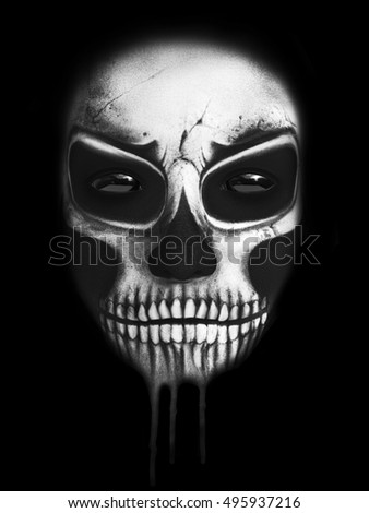 Dark portrait of the face of the reaper, 3D rendering. Black background.
