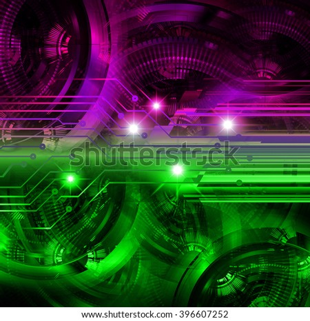 dark purple green Circle wave Light Abstract Technology background for computer graphic website internet and business. circuit. illustration. digital. infographics. gear