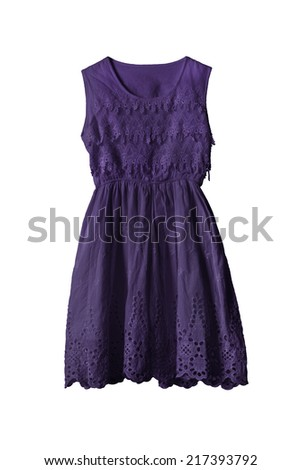 Dark purple lacy dress on white background - stock photo