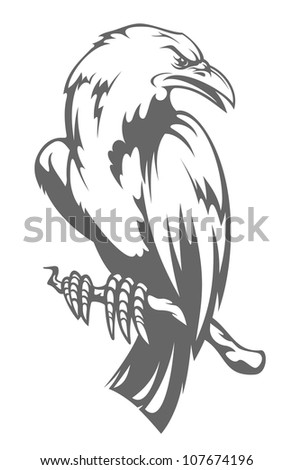 Dark raven on the branch in cartoon style. Vector version also available in gallery - stock photo