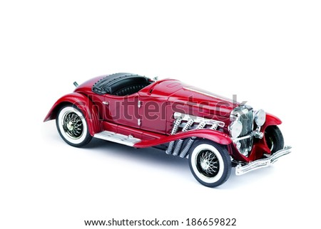 dark red retro car isolated on white background - stock photo