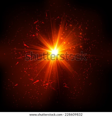 Dark red space shining flash explosion with particles - stock photo