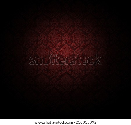 dark red wallpaper pattern. baroque style. - stock photo