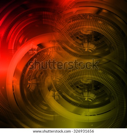 dark red yellow color Light Abstract Technology background for computer graphic website internet and business.circuit. illustration. abstract digital. infographics. motion move blur.neon. Binary digit - stock photo