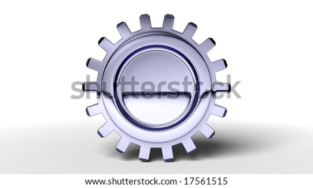 Dark reflection on a gear with shadow on white. Easy to isolate.