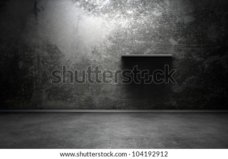 Dark room interior with shelf - stock photo
