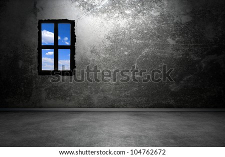 Dark room interior with window - stock photo