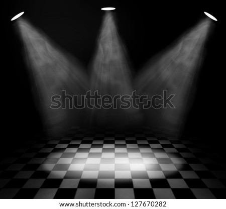 dark room with spotlights - stock photo