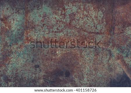 Dark rusty metal texture. Vintage effect.  - stock photo