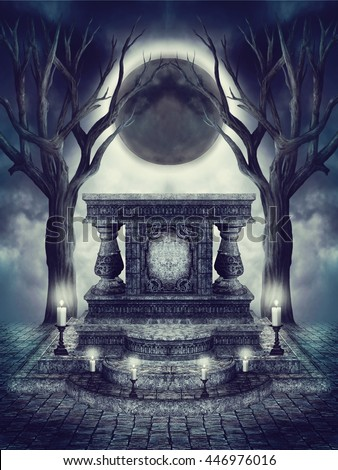 Dark scenery with the moon eclipse and dark altar with burning candles. 3D illustration.