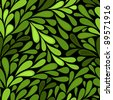 Dark seamless pattern with green leaves - stock photo