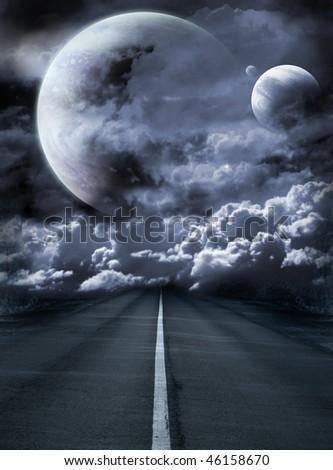 Dark series - road to surreal galaxy - stock photo