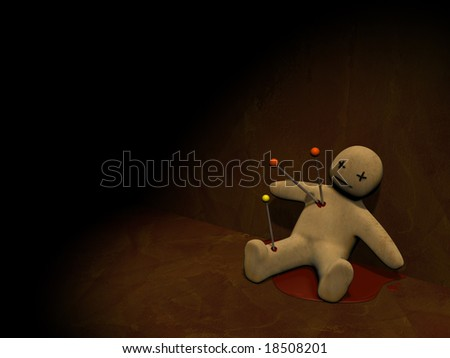Dark series - voodoo doll, pierced with pins - stock photo