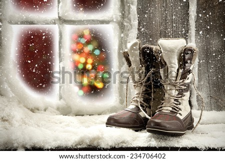 dark shoes and window space  - stock photo