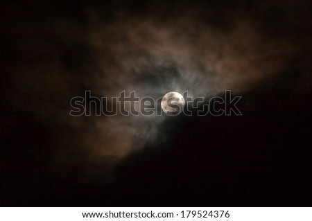 Dark Sky With Full Moon, Stars And Clouds, Lunar Eclipse  - stock photo