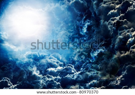 dark sky with moon - stock photo