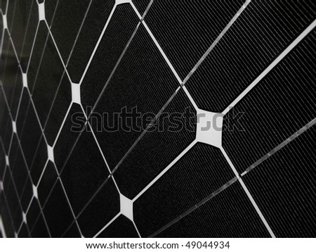Dark solar panel closeup - stock photo