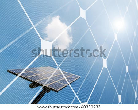 Dark solar panel closeup - stock photo