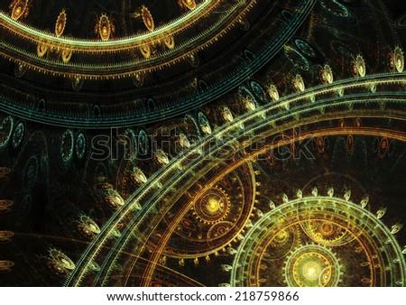 Dark steampunk design,mechanical background - stock photo
