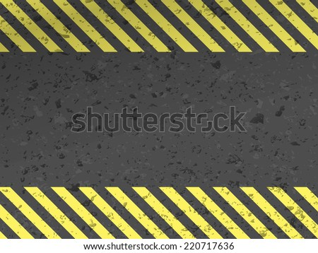 Dark steel background with yellow caution stripes