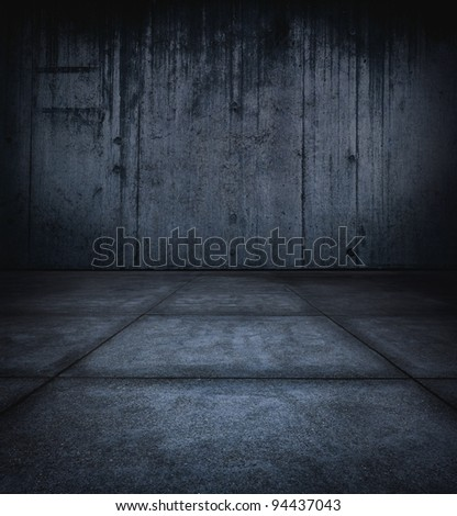 Dark stone dungeon, with wall and floor - stock photo