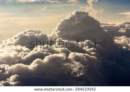 Dark storm clouds before rain - stock photo