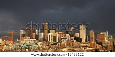 dark storm clouds over denver - panorama, site of 2008 Democratic National Convention - stock photo