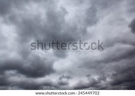 Dark storm sky with clouds, may be used as background - stock photo