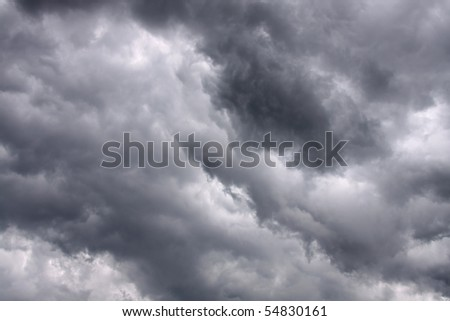 Dark stormy clouds - stock photo