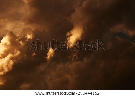 Dark stormy clouds. Nature background - stock photo