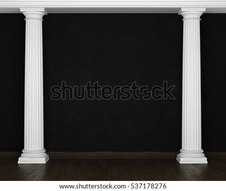 Entasis front view stock illustration 94854217 shutterstock for Stucco columns