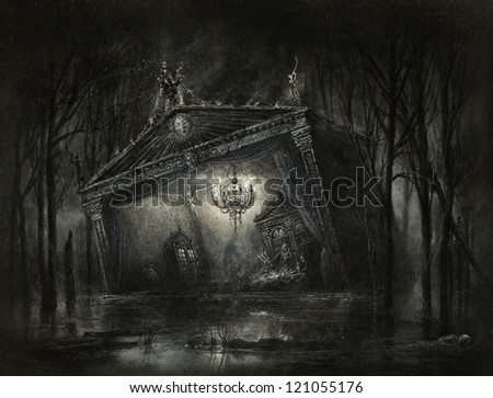 Dark surreal scene - stock photo