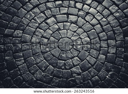 Dark texture of stone floor close up - stock photo