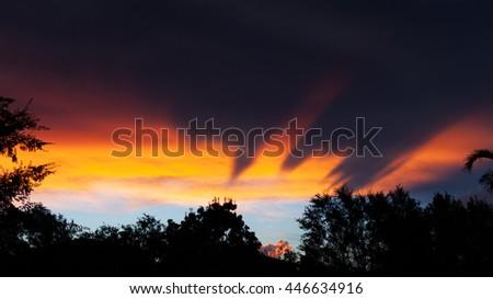 Dark tornado clouds above city during monsoon season in Phoenix, Arizona - stock photo